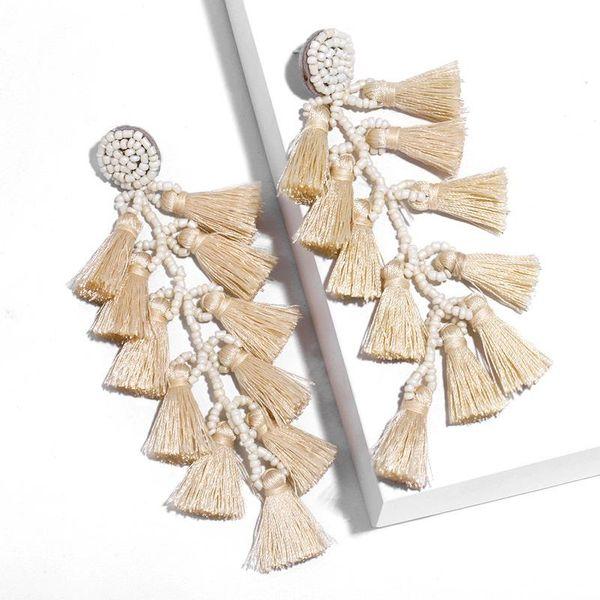 Long Bohemian Multi-layer Tassel Earrings Wholesale NHAS190896