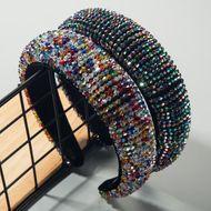 Luxury high-grade handmade beaded sponge cloth with crystal wide-edge hair hoop NHLN190904