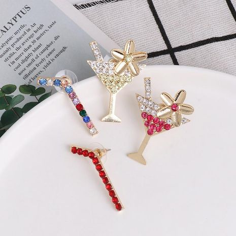Pendientes simples copa de paja bicolor con circonio color geométrico pendientes asimétricos mujer NHJJ190961's discount tags