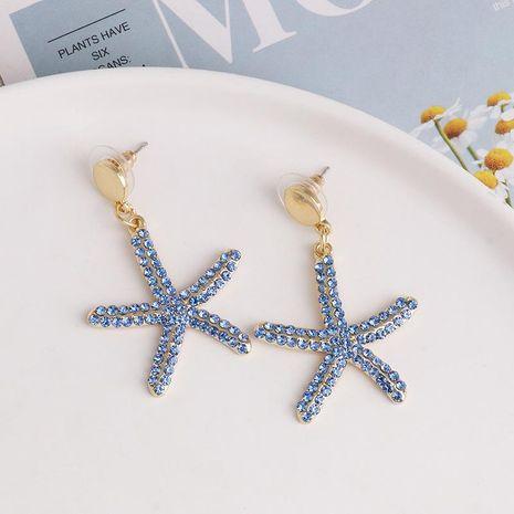 Nuevos pendientes aretes mujer estrella de mar azul temperamento salvaje pentagrama joyería NHJJ190968's discount tags