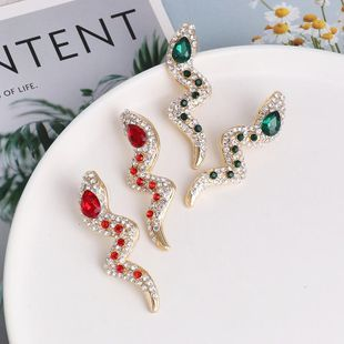 Fashion full diamond snake-shaped long earrings women's earrings diamond earrings NHJJ190971's discount tags