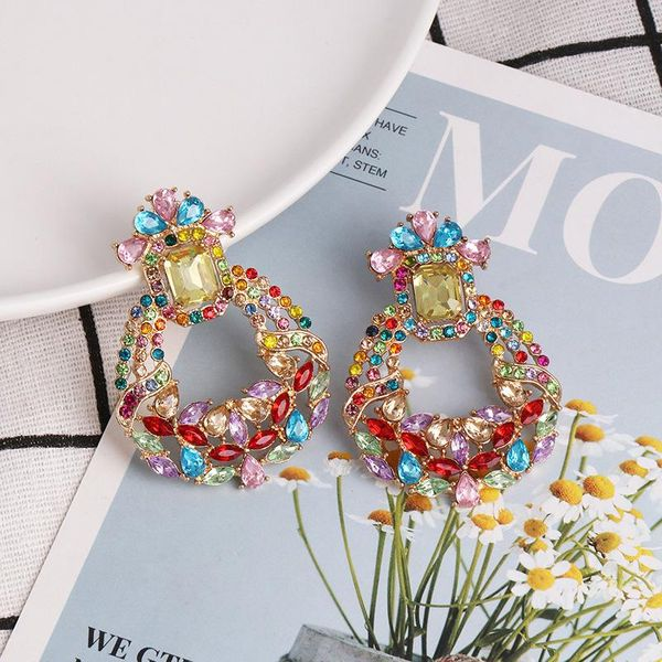 Geometric diamond full diamond earrings female retro elegant earrings ear jewelry NHJJ190972