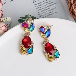 Diamond Geometrical Earrings Colorful Earrings Vintage Color Crystal Stud Earrings NHJJ190975's discount tags