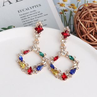 Diamond Geometrical Earrings Colorful Earrings Vintage Color Crystal Stud Earrings NHJJ190977's discount tags