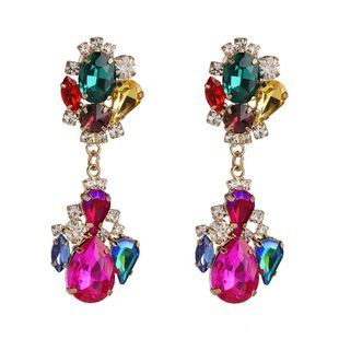 Diamond Geometrical Earrings Colorful Earrings Vintage Color Crystal Earrings Wholesale NHJJ190978's discount tags