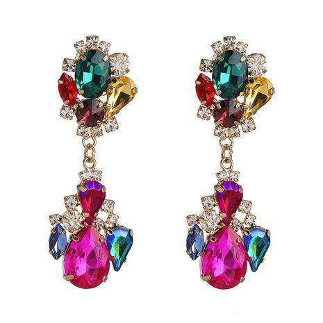 Pendientes geométricos de diamantes Pendientes coloridos Pendientes de cristal de color vintage al por mayor NHJJ190978's discount tags