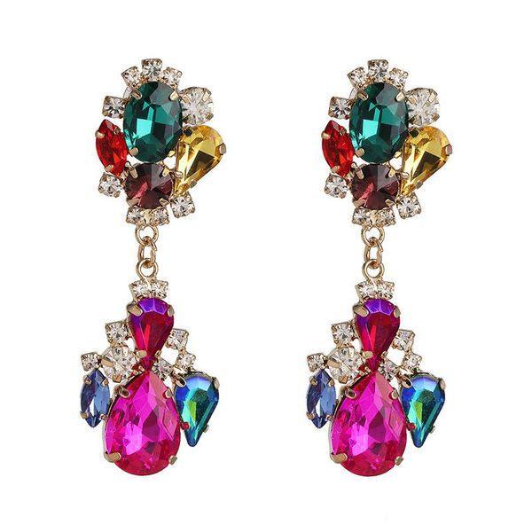 Diamond Geometrical Earrings Colorful Earrings Vintage Color Crystal Earrings Wholesale NHJJ190978