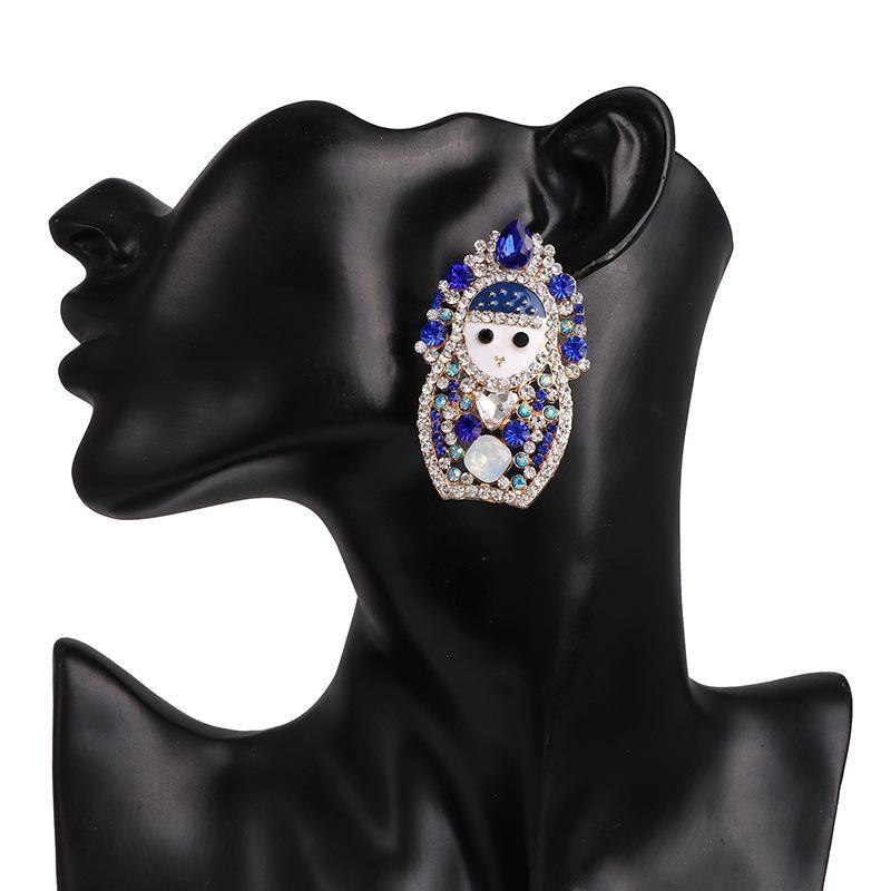 Hot sale doll blue diamond stud earrings elegant women's jewelry earrings jewelry NHJJ190980