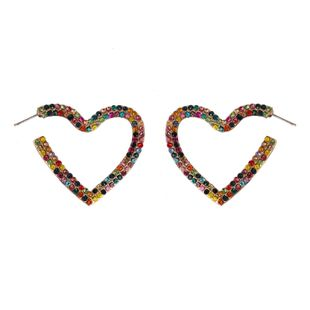 Earrings jewelry alloy heart-shaped colorful diamond hollow earrings new earrings NHJJ190982's discount tags