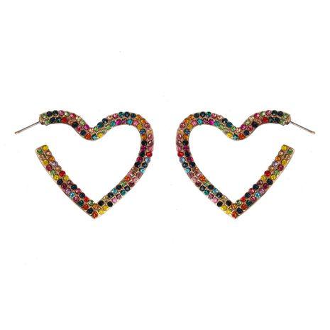 Pendientes de aleación de joyas en forma de corazón de diamantes coloridos pendientes huecos pendientes nuevos NHJJ190982's discount tags