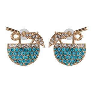 Simple creative earrings diamond blue straw cup bohemian female earrings jewelry NHJJ190983's discount tags