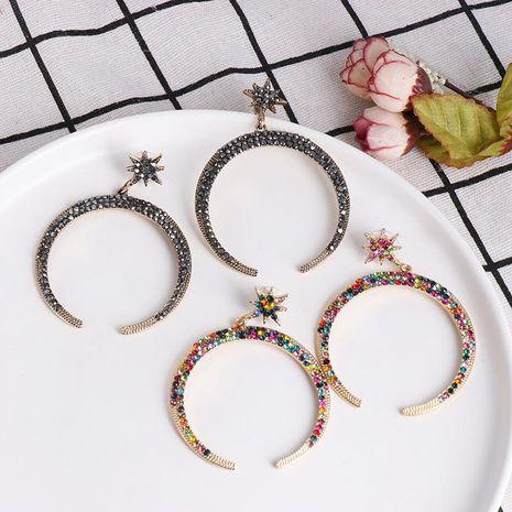Pendientes de diamantes de media luna llenos de moda pendientes de diamantes pendientes de mujer NHJJ190993's discount tags