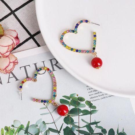 Pendientes de diamantes en forma de corazón de moda con diamantes y aretes de perlas NHJJ190994's discount tags