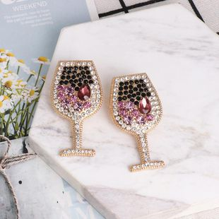 Fashion wine glass full diamond earrings diamond new earrings wholesale NHJJ190995's discount tags
