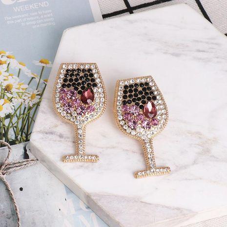 Copa de vino de moda pendientes de diamantes completos pendientes nuevos de diamantes al por mayor NHJJ190995's discount tags