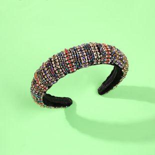 wholesale headband sponge retro diamond wide headband NHMD191015's discount tags