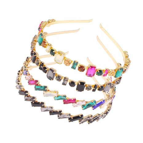 Stained glass diamond new hair hoop female simple hair accessories alloy headband NHMD191016's discount tags