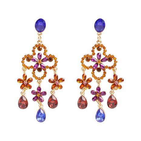 Pendientes largos con borlas pendientes de piedras preciosas Pendientes de flores Lobak NHMD191018's discount tags