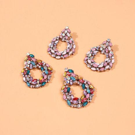Aretes de diamantes de cristal geométricos exagerados para mujer NHMD191021's discount tags