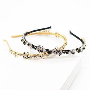 Nueva moda coreana tejida a mano hoja de metal diamante accesorios para el cabello simple aro de pelo de novia NHWJ191031's discount tags