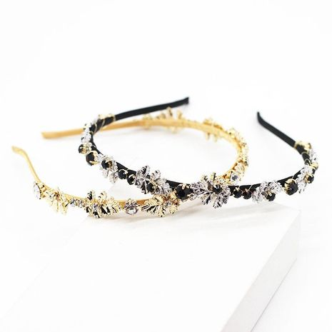 New Korean fashion hand-woven metal leaf diamond simple hair accessories bride hair hoop NHWJ191031's discount tags