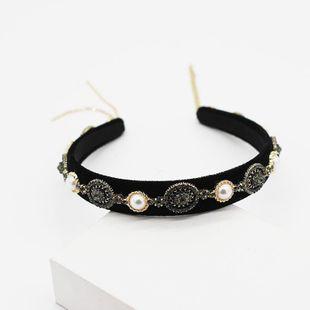 Wholesale headband new Korean big pearl black diamond geometric hair accessories simple fringe hair accessories NHWJ191030's discount tags