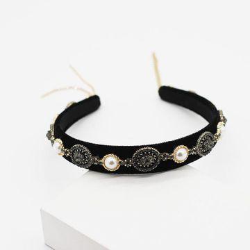 Wholesale headband new Korean big pearl black diamond geometric hair accessories simple fringe hair accessories NHWJ191030