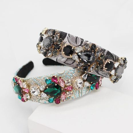 New Baroque Rhinestone Geometric Flower Hoop Prom Gift Hair Accessories NHWJ191036's discount tags