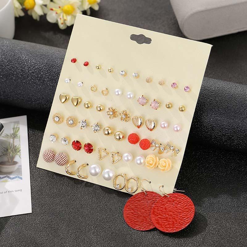 30 pairs of earrings set transparent rhinestone ball flower earrings girls pearl earrings NHSD191045