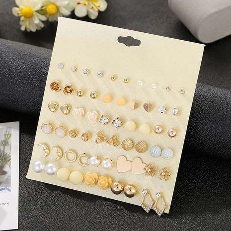 Pendientes de perlas de flores de diamantes de imitación con tachuelas vintage 30 pares de pendientes de oro NHSD191049's discount tags