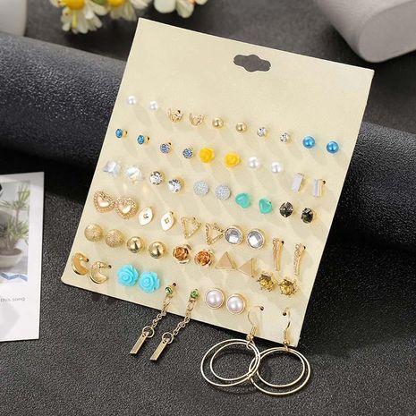 30 pares de alfileres de acero inoxidable chapados en oro con lindos pendientes geométricos de perlas de imitación NHSD191051's discount tags
