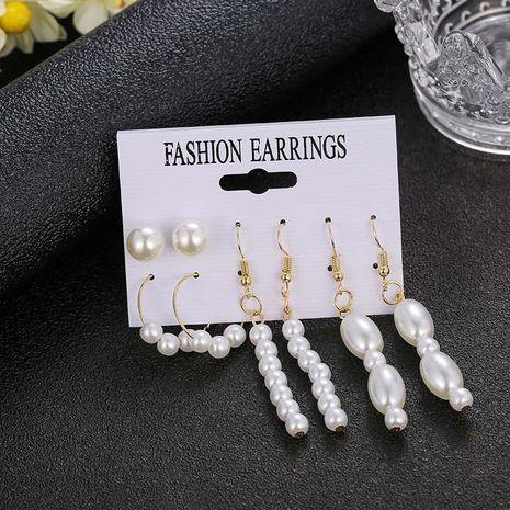 Aretes de perlas simples para mujer, traje de cuatro piezas NHSD191057's discount tags