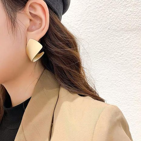 Korean champagne gold rolled metal smooth earrings fashion earrings women NHYQ191074's discount tags