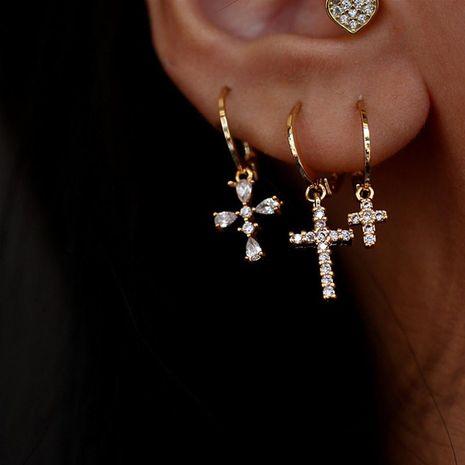 Aretes cruzados Pernos de plata 925 Pendientes colgantes de micro diamantes y diamantes NHYQ191093's discount tags