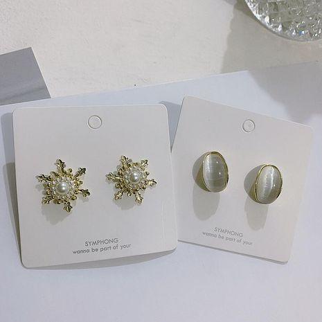 Pearl and Diamond Semicircular Opal Retro Stud Earrings NHYQ191104's discount tags
