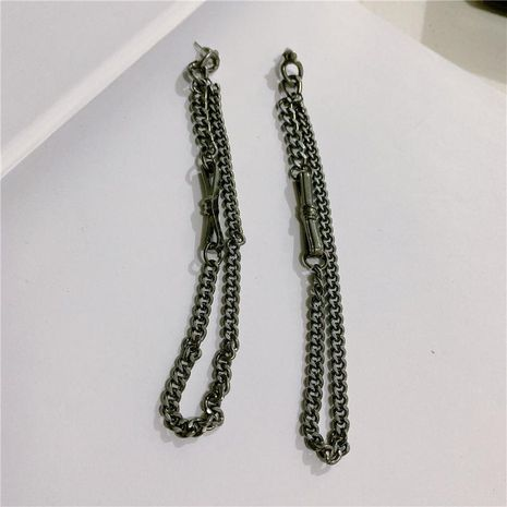 Pendiente de doble borla de cadena extra larga negra Pendientes de plata S925 NHYQ191109's discount tags