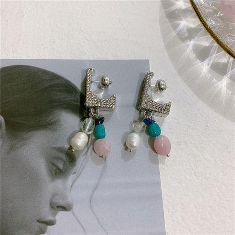 Pendientes letra L micro incrustaciones pendientes de cristal de circón pendientes de perlas cruzadas femeninas pendientes mujeres NHYQ191117's discount tags
