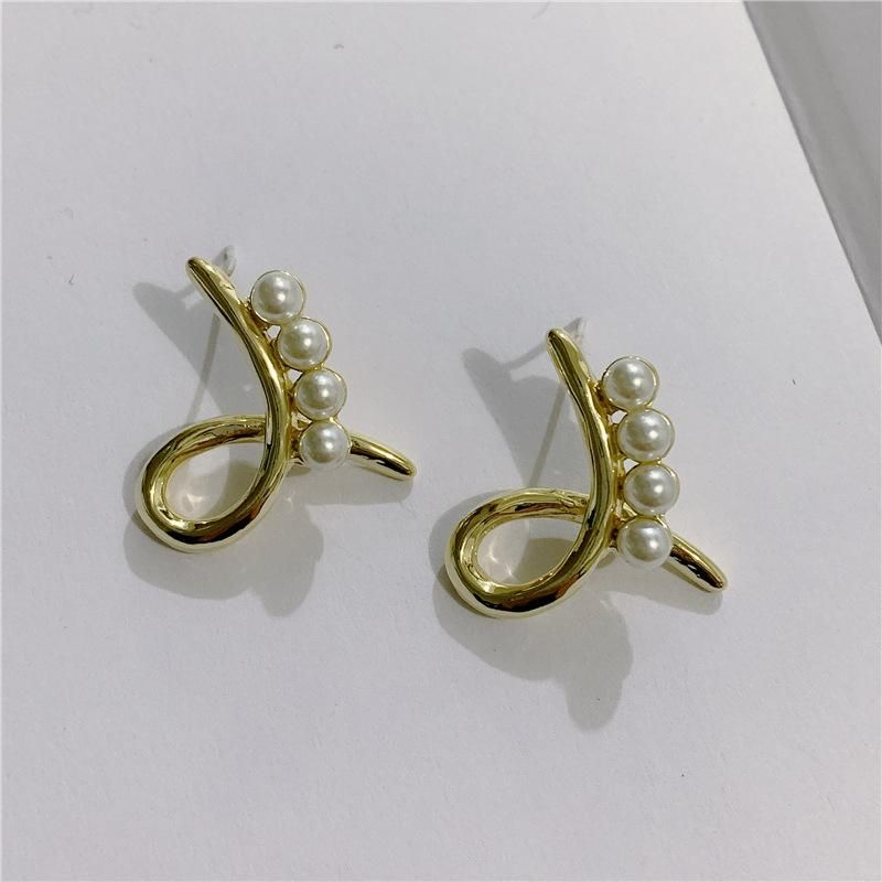 Korean Vintage Metal Cross Pearl Earrings Frosty Stud Earrings NHYQ191124