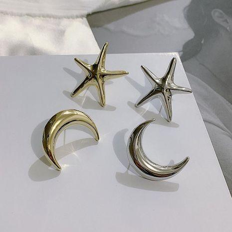 Aretes de luna de estrella de mar con baño alto francés NHYQ191128's discount tags