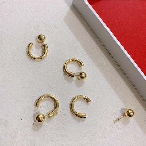 Pendientes de arco de metal Pendientes de oreja de frijoles dorados Pendientes de inserción en forma de C NHYQ191152's discount tags