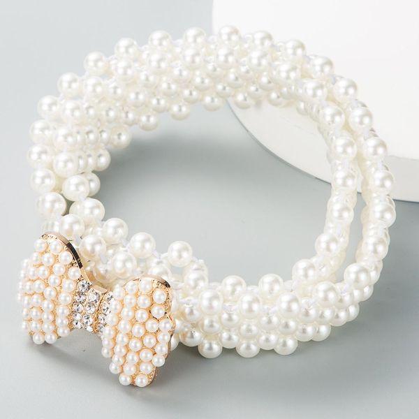 European and American fashion ladies elastic pearl belt bow buckle decorative dress wild elastic waist chain waist seal NHLN191308