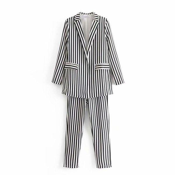 Wholesale contrast color striped high waist pants women's suit pants NHAM184145
