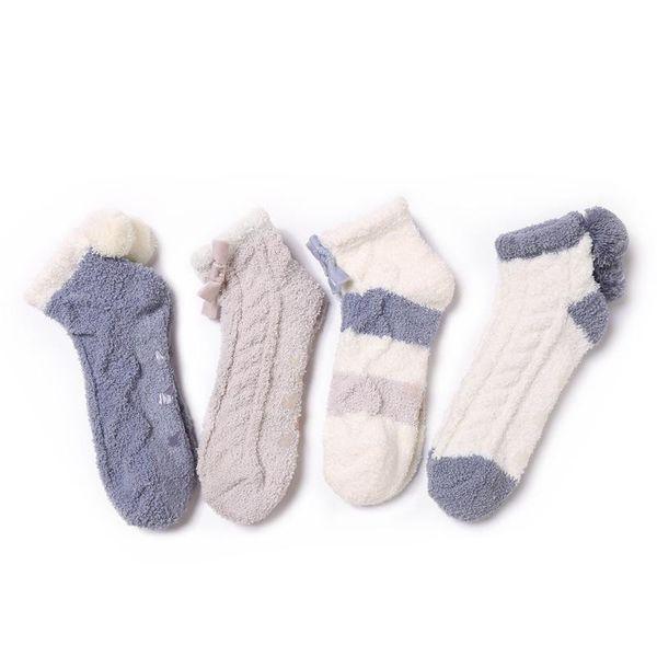 Coral fleece socks wholesale thick tube socks striped warm home floor socks NHQY184370