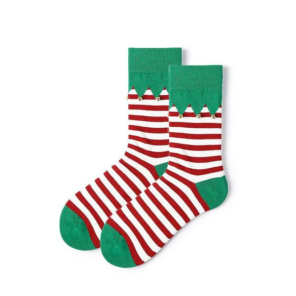 Christmas socks women small bells striped stockings autumn and winter cotton socks wholesale NHQY184374