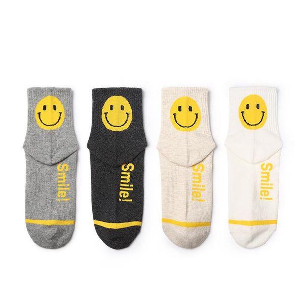 Nuevos calcetines al por mayor de color sólido smiley sports calcetines de algodón skateboarding art ladies tube calcetines NHQY184384