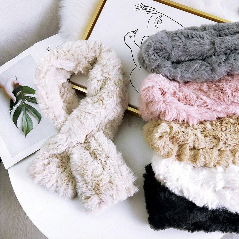 Plush solid color scarf women thickened long fashion wild scarf NHMN184292