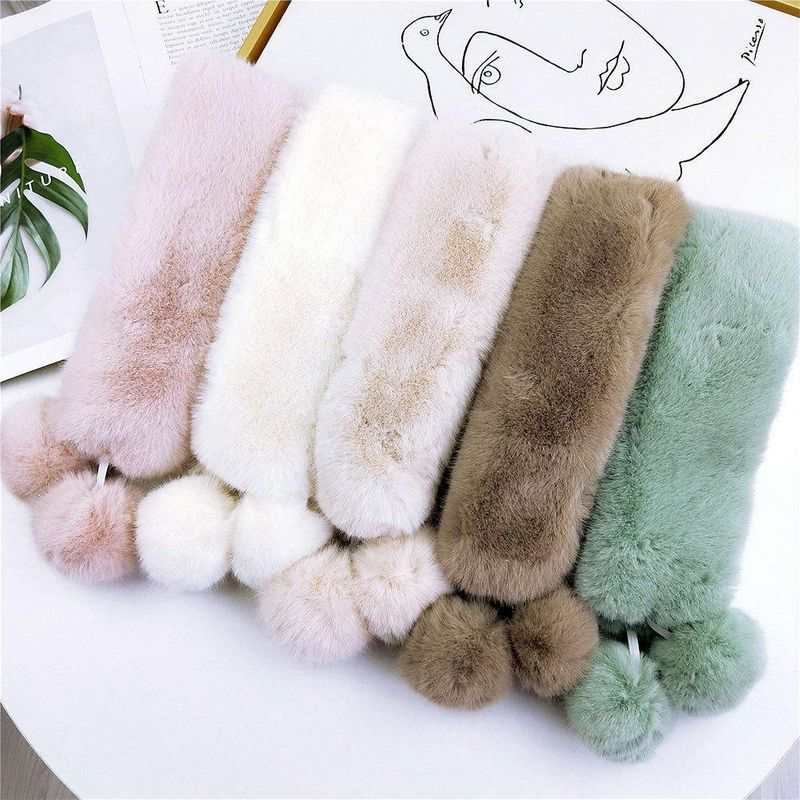 Suction iron double ball plush solid color scarf female winter Korean fashion wild student scarf NHMN184293