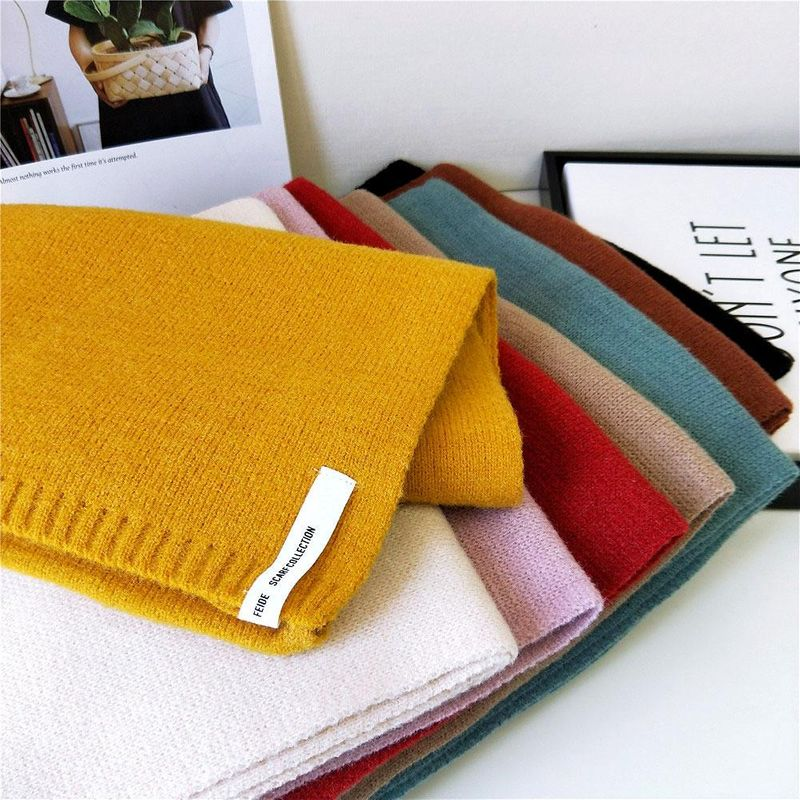 Solid color scarf female winter long thick couple knitted wool fashion scarf student warm scarf NHMN184296