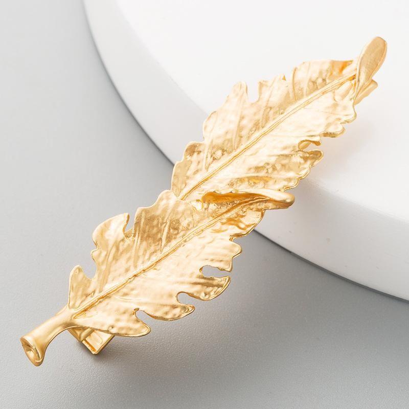 Alloy leaf hair clip retro simple metal hair accessories women autumn and winter word clip NHLN184112