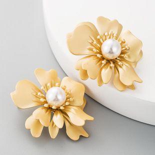 Fashion golden flower alloy earrings women sub-gold pearl earrings wholesales fashion NHLN184114's discount tags